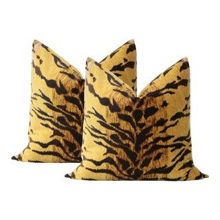 "22"" Tiger Velvet Pillows - a Pair For Sale"