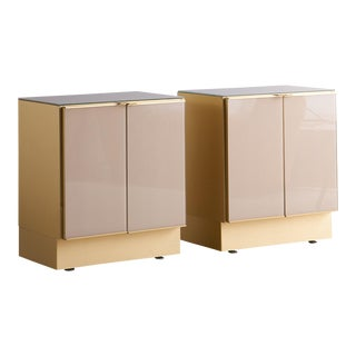 Pair of Mid Century Modern Brass Ello Nightstands With Two Doors For Sale