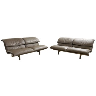 Mid Century Modern Giovanni Offredi Saporiti Leather Wave Loveseat Sofas- A Pair For Sale