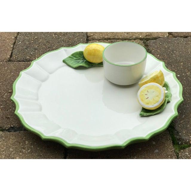 Italian Ceramic Majolica Trompe L'oeil Lemons Serving Platter With Bowl For Sale In Chicago - Image 6 of 8