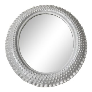 Vintage Faux Milk Glass Hobnail Oval Wall Mirror For Sale