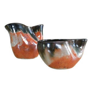 Eugene Duetch 1940s Mid-Century Modern Pottery Sugar and Creamer Set - 2 Pieces For Sale