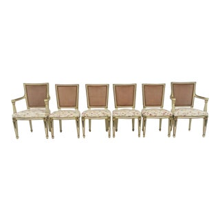 Cream & Gold Jansen Style Dining Chairs - Set of 6 For Sale
