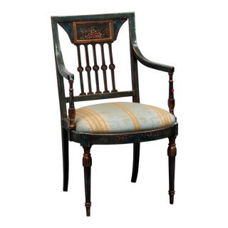 Antique Adams Style Paint Decorated Arm Chair For Sale