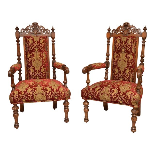 Pair of Antique English Carved Oak Arm Chairs c. 1880 - Image 1 of 5