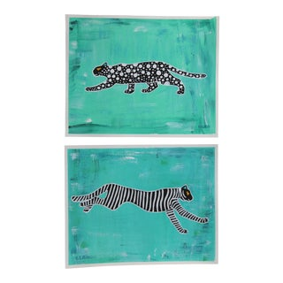Chinoiserie Pair of Leopard Tiger Paintings by Cleo Plowden For Sale