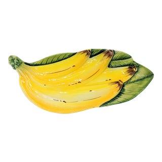 Italian Mid-Century Majolica Banana Platter For Sale