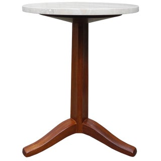 Mahogany and Stone Gueridon Side Table by Edward Wormley for Dunbar For Sale