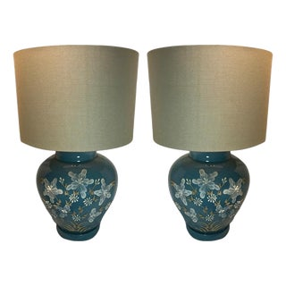 Vintage Hand Painted Chinoiserie Chic Ginger Jar Table Lamp – a Pair