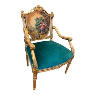 Louis XVI French Style Armchair With Oil Painting For Sale