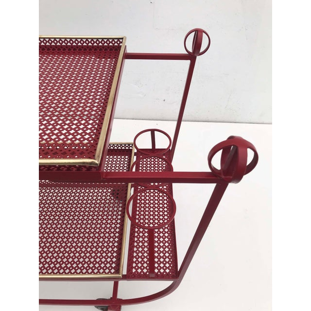Mid-Century Modern Mathieu Mategot & Jean Royere Bar Cart For Sale - Image 3 of 6