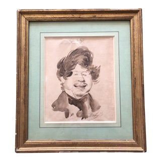 Antique Caricature Portrait Painting of Eugene Isabey by Jean Baptiste Isabey For Sale