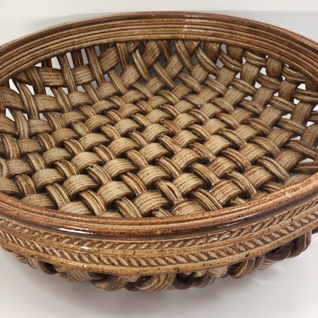 Boho Chic Phil Sellers River Hill Pottery Basket Weave Bowl or Platter For Sale - Image 3 of 13