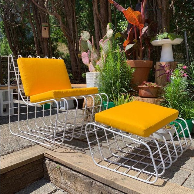 Mid-Century Modern 1970s Mod Wire Lounge Chair With Ottoman For Sale - Image 3 of 13