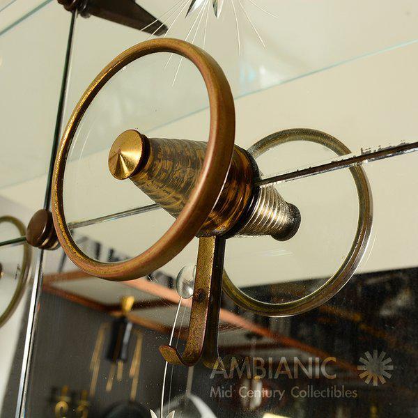 Italian Full Length Mirror with Shelf & Hooks After Fontana Arte For Sale - Image 4 of 11