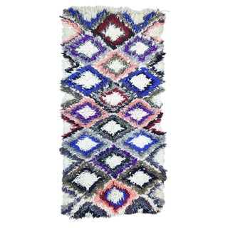 1980s Berber Moroccan Boucherouite Rug - 2′7″ × 5′2″ For Sale
