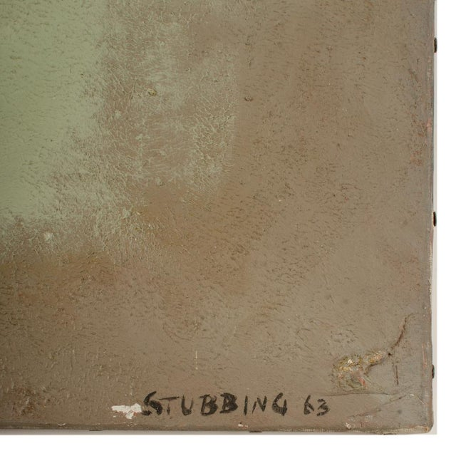 Green Burst on grey background - Oil on Canvas , signed lower right and dated '63 - Also known as NH Tony Stubbing - Unframed