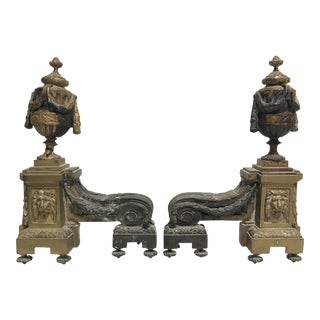 Antique French Lion Masks & Garland Solid Brass Fire Dogs Andirons - a Pair For Sale