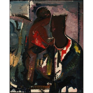 Abstracted Portrait of a Couple Late 20th Century Oil on Paper For Sale