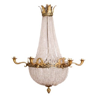Elegant Belle Epoque/Empire Crystal Chandelier For Sale