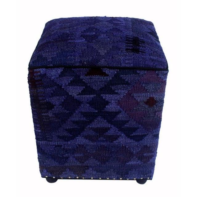 Arshs Demetric Purple/Drk. Gray Kilim Upholstered Handmade Ottoman For Sale - Image 4 of 8
