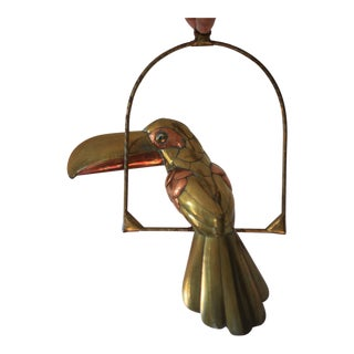 1970s Sergio Bustamante Mixed Metal Hanging Toucan For Sale