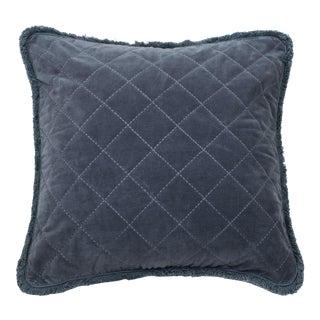 Quilted Velvet Fringe Pillow, Dark Grey For Sale