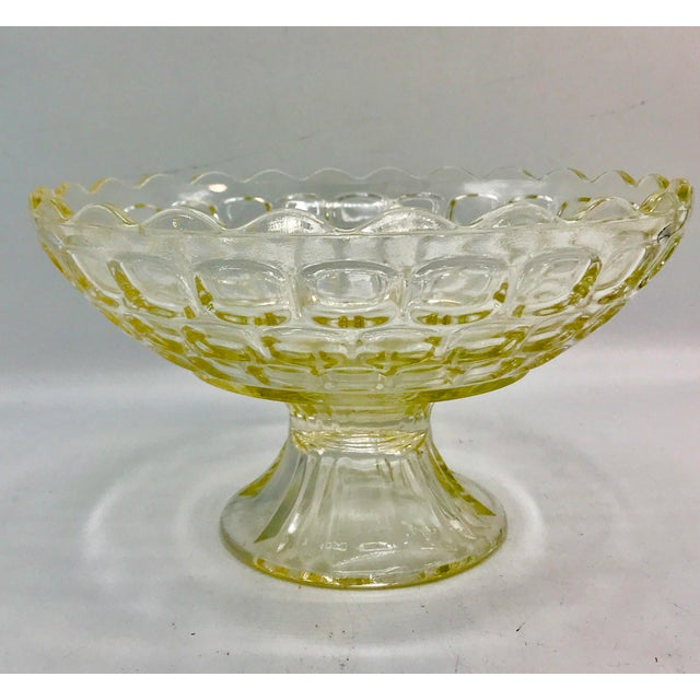 Lovely Mid Century Pedestal bowl in a light Amber or Topaz. By Federal glass. Makes a great centerpiece bowl or fruit bowl.
