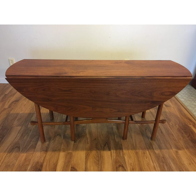Walnut Heritage Henredon Drop Leaf Dining Table For Sale - Image 7 of 10