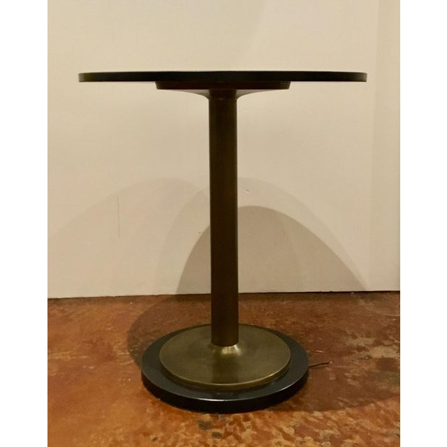 2010s Currey and Co. Modern Black Marble and Antique Brass Side Table For Sale - Image 5 of 5