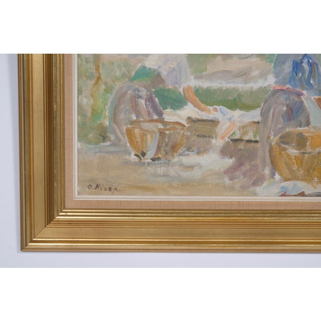 An Impressionist portrait of two women hand washing laundry a long side their cottage. Signed Ove Køser (Danish,...