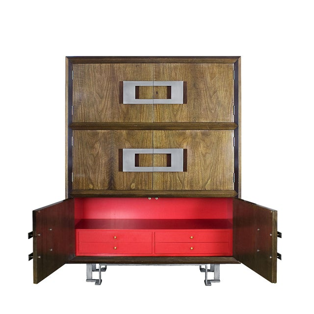 Metal 1970s Dry Bar by Jordi Vilanova, Six Doors, Walnut, Lacquer, Brass, Barcelona For Sale - Image 7 of 12