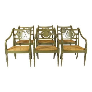 1980s Vintage Baker Country French Style Chairs- Set of 6 For Sale