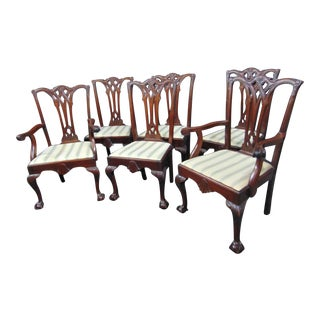 Philadelphia Centennial Chippendale Carved Mahogany Dining Chairs - Set of 6 For Sale