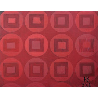 Original Red Circles and Squares Acrylic Painting on Canvas by Natalia Bessonova For Sale