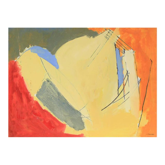 Jack Freeman Bright Abstract Expressionist Painting, Circa 1960s For Sale