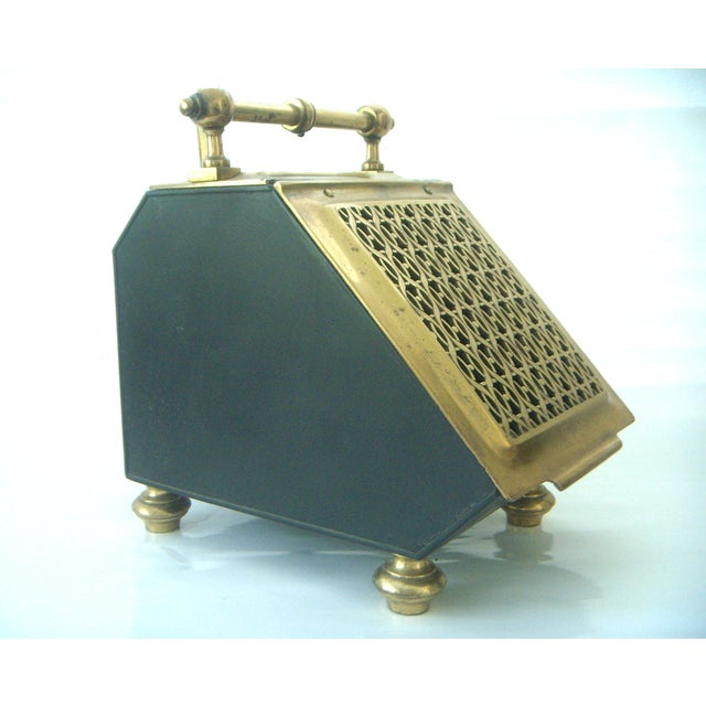 Vintage Brass Coal Scuttle & Pumice Fireplace Lighting Set - Image 2 of 8
