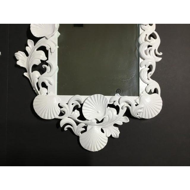 White White Iron Sea Shell Mirror For Sale - Image 8 of 12