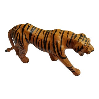 1960s Hand Painted Leather Tiger Figurine With Glass Eyes Made in India For Sale