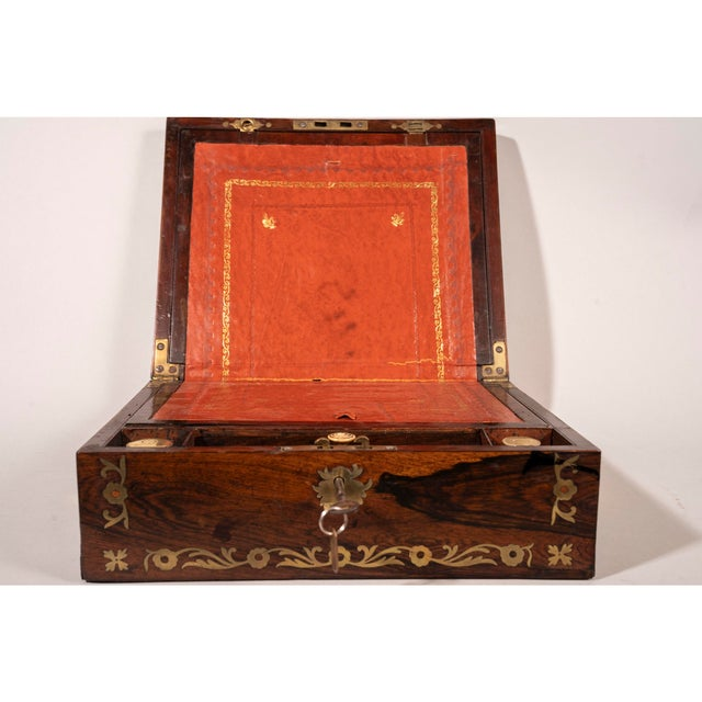 Metal Late 19th Century Brass Inlaid Rosewood Lap Desk For Sale - Image 7 of 12