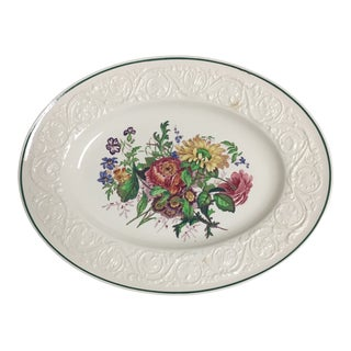"Wedgwood Embossed Creamware Floral Decorated 14"" Oval Platter For Sale"