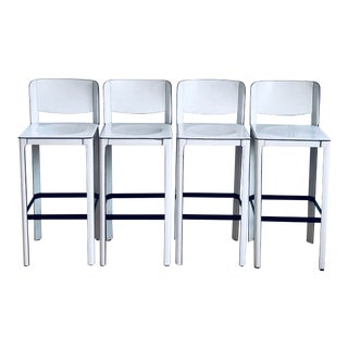 1970s Vintage Matteograssi White Leather Bar Stools- Set of 4 For Sale