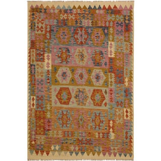Abby Brown/Ivory Hand-Woven Kilim Wool Rug -5'10 X 7'11 For Sale