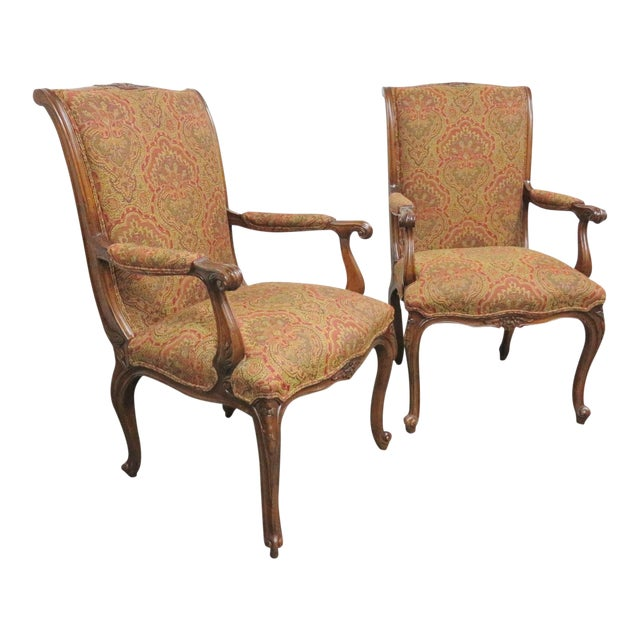 Louis XV Carved Walnut Chairs by EJ Victor - a Pair For Sale