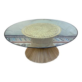 1970s McGuire Bamboo Wheat Sheaf Coffee Table For Sale