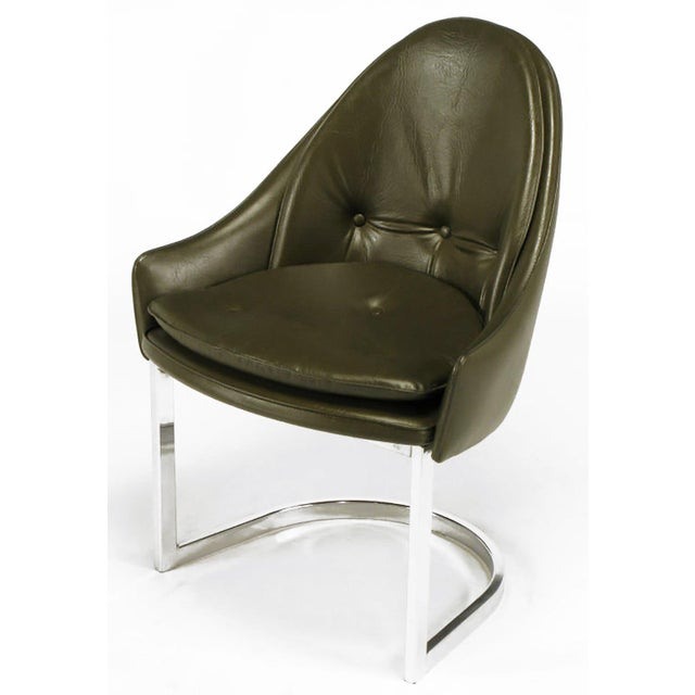 Mid-Century Modern Four Cantilevered Chrome and Chocolate Brown Spoonback Dining Chairs For Sale - Image 3 of 7