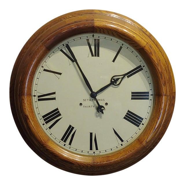 "1900s Seth Thomas 30 Days 24"" Oak Gallery Clock For Sale"