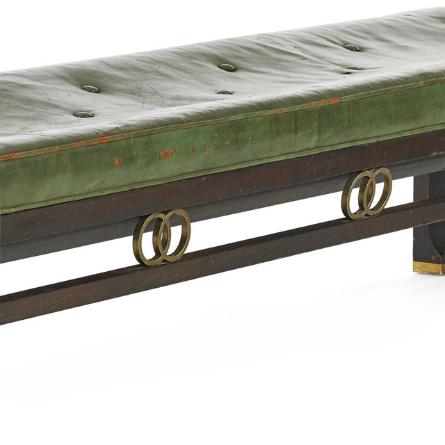 Vintage Michael Taylor for Baker Furniture Green Leather Bench For Sale In Houston - Image 6 of 7