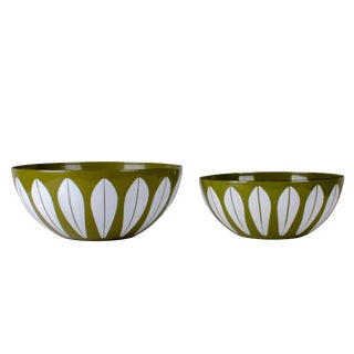 Catherineholm Green Lotus Enamelware Bowls - a Pair For Sale
