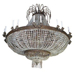 A Rare Magnificent Very Large Crystal/Bronze Chandelier For Sale